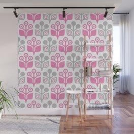 Mid Century Garden Flower Pattern Pink Grey Wall Mural
