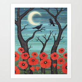 crows, fireflies, and poppies in the moonlight Art Print