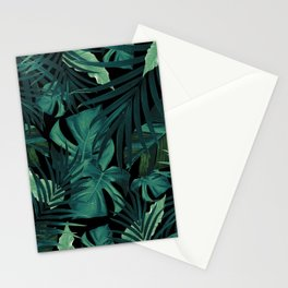 Tropical Jungle Night Leaves Pattern #1 #tropical #decor #art #society6 Stationery Cards