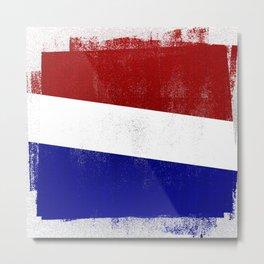 Netherlands Distressed Halftone Denim Flag Metal Print
