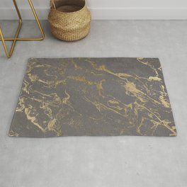 Modern Grey cement concrete gold marble pattern Rug