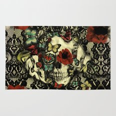 Vintage Gothic Lace Skull Rug