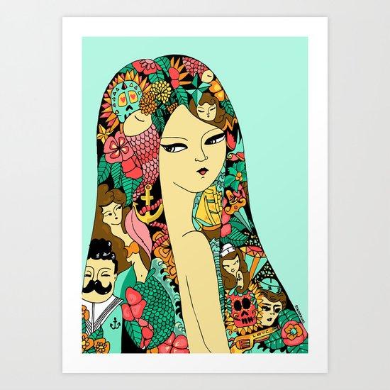 Girl with Tattoo Art Print