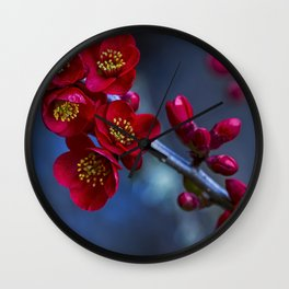 Red Flowering Quince Wall Clock