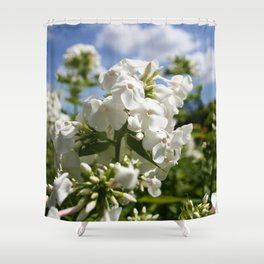 White Flowers & Blue Sky Shower Curtain