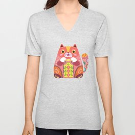 Happy Fortune Cat Unisex V-Neck