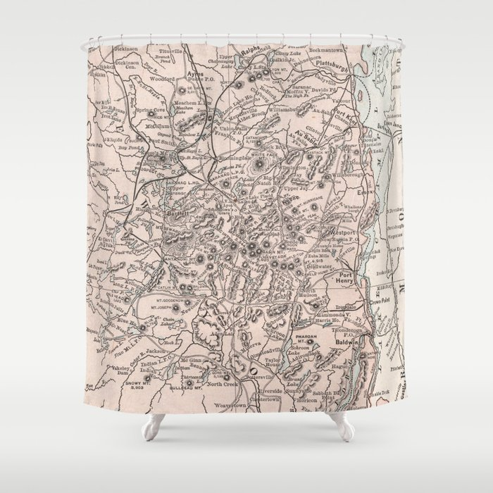 Vintage Map Of The Adirondack Mountains 1901 Shower Curtain