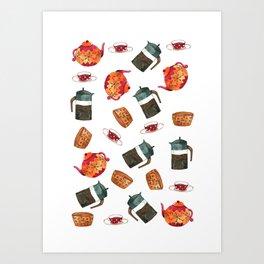 Tea set pattern  Art Print
