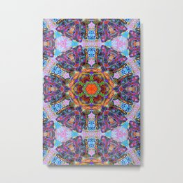 Mandala with colorful collage Metal Print