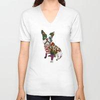 boston V-neck T-shirts featuring boston bull by bri.buckley