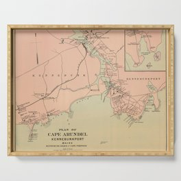 Vintage Kennebunkport & Cape Arundel ME Map (1894) Serving Tray