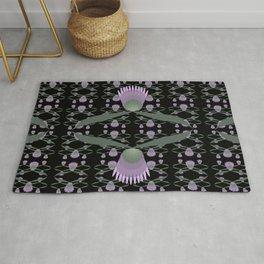 Purple Clover Reflection Pattern on Black Rug