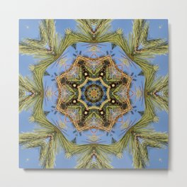 White Pine Branch Mandala Metal Print