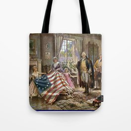 Edward percy moran: the birth of old glory Or Betsy Ross and Washington Tote Bag