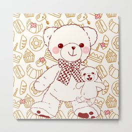 The Adventures of Bear and Baby Bear-Pastry Metal Print