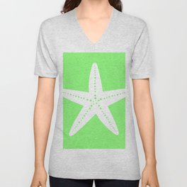Starfish (White & Light Green) Unisex V-Neck