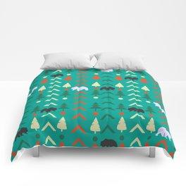 Winter bear pattern in green Comforters
