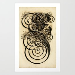 Antique Caligraphy Art Print