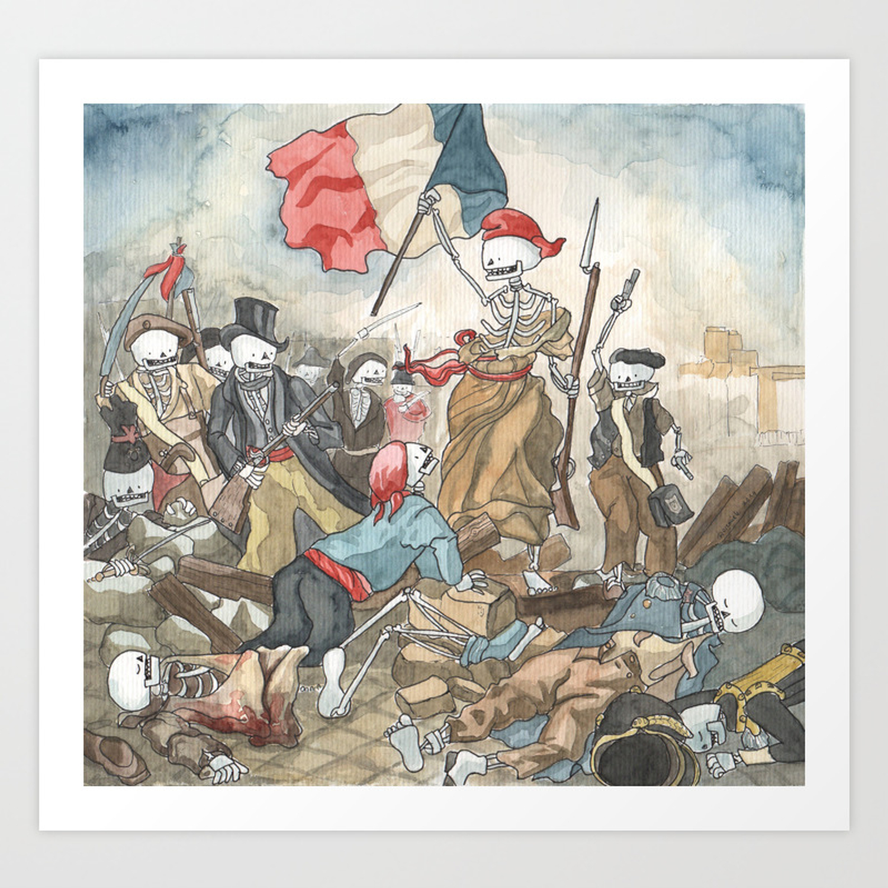 Liberty Leading The People Delacroix Skeleton Version Art