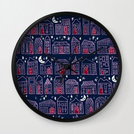 Starry Night in the City - Orchid & Navy Wall Clock