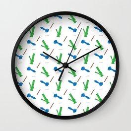Bongs, Pipes, Blunts & Joints Pattern Wall Clock