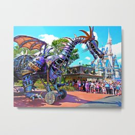 Maleficent At Cinderella's Castle Metal Print