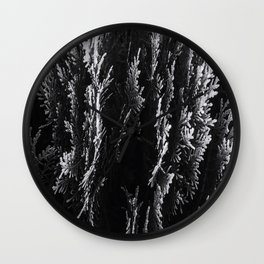 closeup leaf texture abstract background in black and white Wall Clock