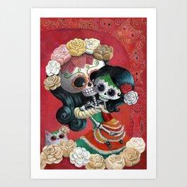 Dia de Los Muertos - Skeleton Mum and Daughter Moment Art Print