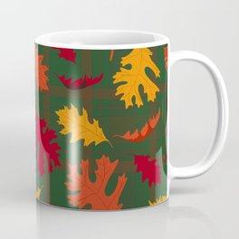 Fall Leaves on Plaid Coffee Mug