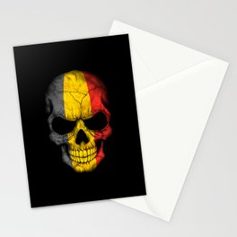 Dark Skull with Flag of Belgium Stationery Cards