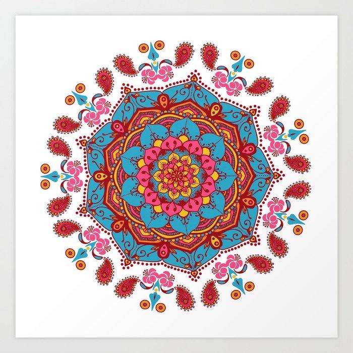 Mandala Hippie Flowers Spiritual Zen Bohemian Yoga Mantra Meditation Kunstdrucke