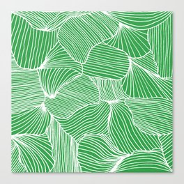 Shells and Lines in Green Canvas Print