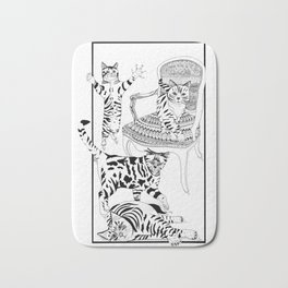 Cats with a chair - Ink artwork Bath Mat