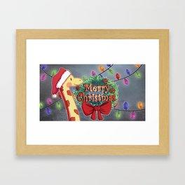 Giraffe Christmas Framed Art Print