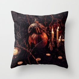 Pumpkins And Candles 1 Throw Pillow