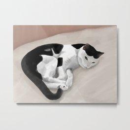 Sleepy Spotted Kitty Cat Metal Print