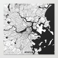 boston map Canvas Prints featuring Boston Map Gray by City Art Posters