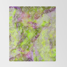 Psicodelic Adventure - Yellowish Green Throw Blanket