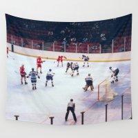 hockey Wall Tapestries featuring Vintage Ice Hockey Match by BravuraMedia
