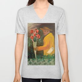 Man with flowers  Unisex V-Neck