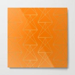 Orange Geometric Triangles Metal Print