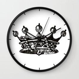 Royal Crown   Vintage Crown   Black and White   Wall Clock
