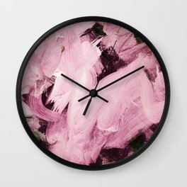 Red Violet on green hues Wall Clock