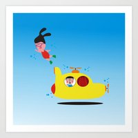 submarine Art Prints featuring Submarine by Alfonnew Shop