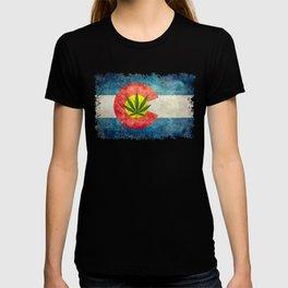 Retro Colorado State flag with leaf - Marijuana leaf that is! T-shirt