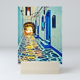 Mykonos Deserted Hallway Mini Art Print