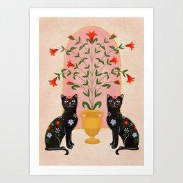 Sister Cats  Art Print