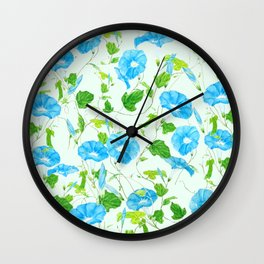 blue morning glory pattern Wall Clock