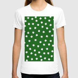 White Shamrocks Green Background T-shirt