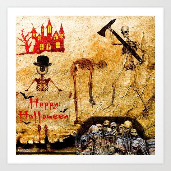 Halloween  Monsieur Bone 4 Art Print